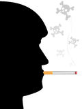 Anti-smoking poster. The face man with a cigarette and skull on pure background Stock Photography