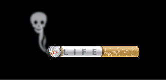 Anti Smoking. Vector of Human skull smoke and cigarette on black background Stock Photography