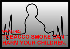 Anti-smoking warnings with EKG line and silhouette of a little bo Stock Image