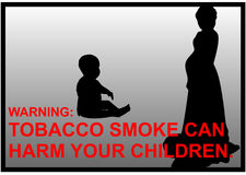 Anti-smoking warnings of a pregnant women and a baby silhouette Stock Photography