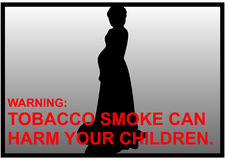 Anti-smoking warnings of a pregnant women silhouette Stock Images