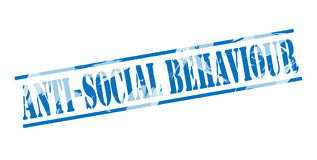 Anti Social behaviour blue stamp. Isolated on white background royalty free illustration