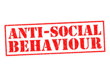 ANTI-SOCIAL BEHAVIOUR. English spelling red Rubber Stamp over a white background stock illustration