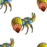 Anti-spänningsfärgbok för vuxna människor Skaldjur på botten av floden Cancer eller räka Sömlös krabba stock illustrationer
