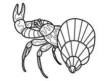 anti-spänningsfärgläggningbok för vuxna människor Skaldjur på botten av floden Cancer eller räka Krabbasvartlinjer royaltyfri illustrationer