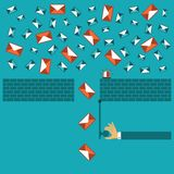 Anti spam filter vector concept in flat style Stock Photos