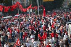 Anti-staatsgreepprotest in Turkije Stock Foto