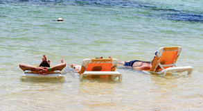 Anti stress. A beach relax scenic at sun Royalty Free Stock Images