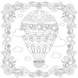 Anti stress abstract balloon, clouds, square flowering frame Royalty Free Stock Images