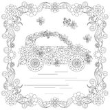 Anti stress abstract car, butterflies, square flowering frame hand drawn monochrome Royalty Free Stock Images