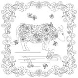Anti stress abstract cow, butterflies, square flowering frame hand drawn monochrome Royalty Free Stock Photos