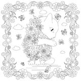 Anti stress abstract flowers cat, butterflies, square flowering frame hand drawn Stock Photos