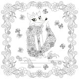 Anti stress abstract fox, butterflies, square flowering frame hand drawn monochrome Stock Photography