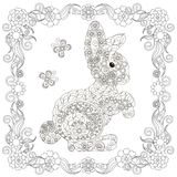 Anti stress abstract hare, butterflies, square flowering frame hand drawn monochrome Stock Photo