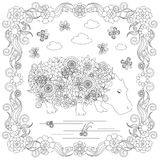 Anti stress abstract hippo, butterflies, square flowering frame hand drawn Royalty Free Stock Photography