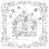 Anti stress abstract home, butterflies, square flowering frame hand drawn Royalty Free Stock Photography