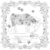 Anti stress abstract horse, butterflies, square flowering frame hand drawn monochrome Stock Photo