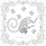 Anti stress abstract monkey, butterflies, square flowering frame hand drawn monochrome Stock Photos