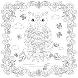 Anti stress abstract owl, butterflies, square flowering frame Royalty Free Stock Photography