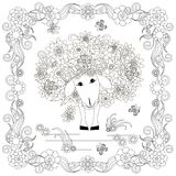 Anti stress abstract sheep, butterflies, square flowering frame Royalty Free Stock Images