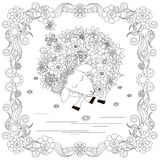Anti stress abstract sheep, butterflies, square flowering frame hand drawn monochrome Stock Images