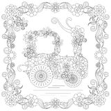 Anti stress abstract tractor, butterflies, square flowering frame hand drawn monochrome Stock Photo