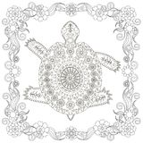 Anti stress abstract turtle, square flowering frame hand drawn monochrome Stock Photos