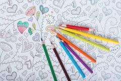 Anti stress adult coloring book. Art. Anti stress adult coloring book. Top view royalty free stock image