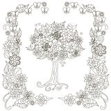 Anti stress blooming tree, birds with hearts, flowering frame hand draw Stock Photography