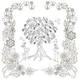 Anti stress blooming tree, birds with hearts, flowering frame hand draw Stock Photos