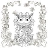Anti stress stylized cat, flowering frame hand drawn Royalty Free Stock Images