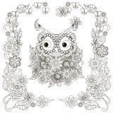 Anti stress stylized owl, flowering frame hand drawn Stock Photography