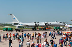 Anti-submarine aircraft are considered by plant visitors. Tu-142 anti-submarine, Indian Air Force, aviation plant, Taganrog, Russia, May 17, 2014 Stock Photos