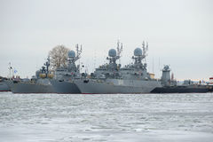 The anti-submarine ships of the Baltic naval fleet in the winter Park cloudy January day. Kronstadt Stock Image