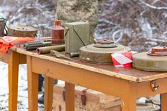 Anti-tank and anti-personnel mine for the destruction of infantry and armor.  royalty free stock images
