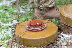 Anti-tank and anti-personnel mine for the destruction of infantry and armor royalty free stock photography