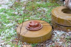 Anti-tank and anti-personnel mine for the destruction of infantry and armor stock image