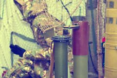 Anti-tank and anti-personnel weapons on the background of camouflage protection.  royalty free stock photos
