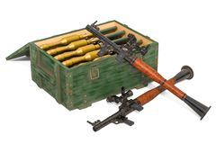 Anti-tank guided missiles with ammo crate full of rockets. 3D rendering. Isolated on white background royalty free illustration