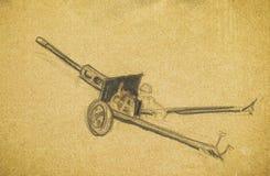 Anti-tank gun. Pencil hand drawing Royalty Free Stock Photo