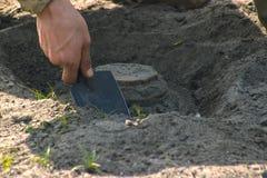 Anti-tank mine installing Royalty Free Stock Images