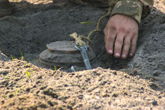 Anti-tank mine installing Stock Photos