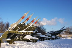 Anti-tank missile in a museum. City of Perm in the winter Royalty Free Stock Images