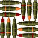 Anti-tank missiles. A set of artillery shells. The illustration on a white background Stock Images