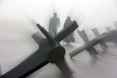 Anti-tank obstacles and foggy weather Royalty Free Stock Image
