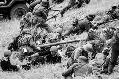 Anti-tank weapon with soldiers black and white Royalty Free Stock Photography