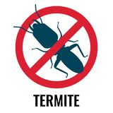 Anti-termite red and blue icon on vector illustration. Anti-termite red and blue icon, representing bug placed in crossed circle, picture on vector illustration Stock Photo