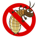 Anti termite sign. Anti pest sign with a funny cartoon termite Stock Photo