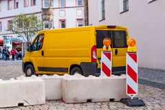 Anti-terrorism barriers for trucks stock photography