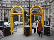Anti terrorism safety barriers in London Stock Image